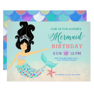 Black Hair Light Skin Asian Mermaid Birthday Party Card
