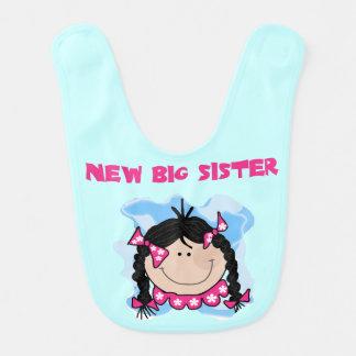 Black Hair New Big Sister Bib