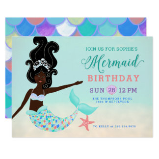 Black Hair with Black Skin Mermaid Birthday Party Card