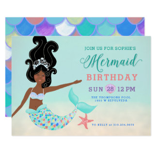 Black Hair with Dark Skin Mermaid Birthday Party Card