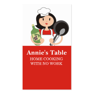 Black hair woman chef olive oil cooking biz cards pack of standard business cards