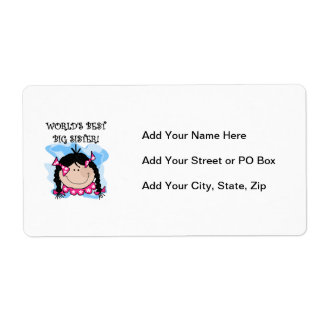 Black Hair World's Best Big Sister Gifts Shipping Label