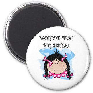 Black Hair World's Best Big Sister Tshirts 6 Cm Round Magnet