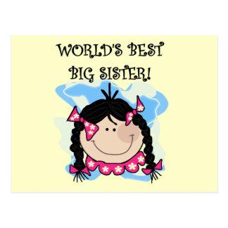 Black Hair World's Best Big Sister Tshirts Postcard