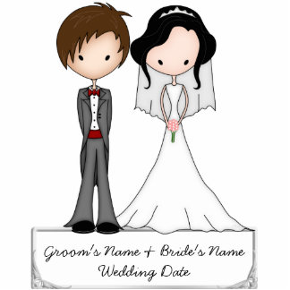 Black Haired Bride and Brown Haired Groom Souvenir Standing Photo Sculpture