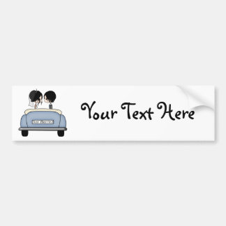 Black Haired Bride & Groom in Blue Wedding Car Bumper Sticker