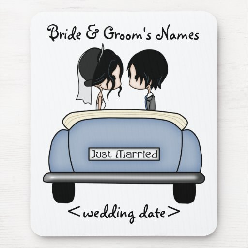 Black Haired Bride & Groom in Blue Wedding Car Mousepad