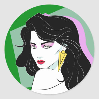 Black Haired Comic Book Beauty Green Classic Round Sticker