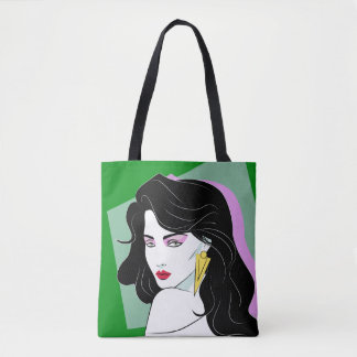 Black Haired Comic Book Beauty Green Tote Bag