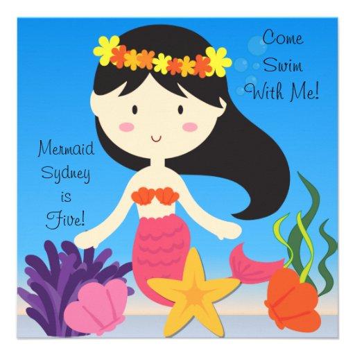 Black Haired  Mermaid Custom Birthday Invitation