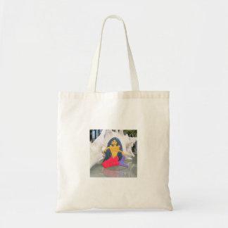 black haired mermaid tote bag
