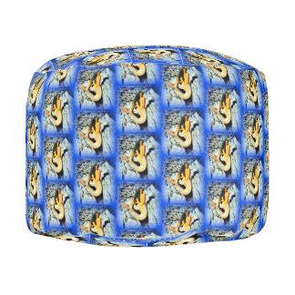 black-haired mermaids pattern on blue pouf
