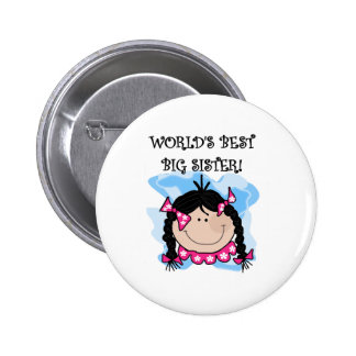 Black Haired World's Best Big Sister 6 Cm Round Badge