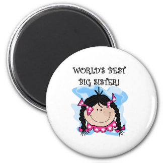 Black Haired World's Best Big Sister 6 Cm Round Magnet