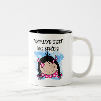 Black Haired World's Best Big Sister Two-Tone Coffee Mug