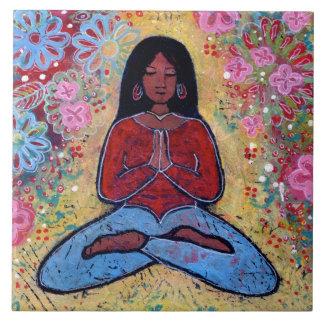 Black Haired Yoga Girl Tile