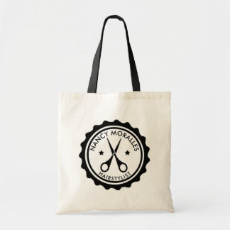 Black Hairstylist Scissors Badge Logo Design Tote Bag