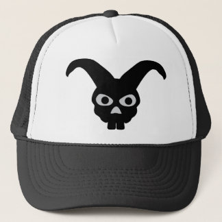 black halloween bunny trucker hat