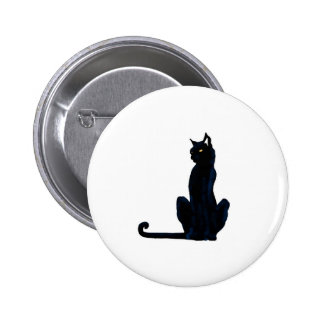 black halloween cat 6 cm round badge
