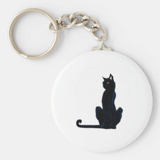 black halloween cat basic round button key ring