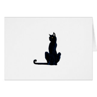 black halloween cat greeting card