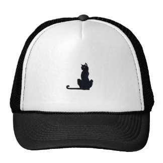 black halloween cat mesh hat