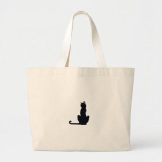 black halloween cat jumbo tote bag