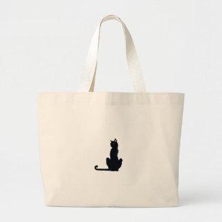 black halloween cat jumbo tote bag
