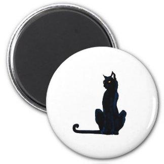 black halloween cat 6 cm round magnet
