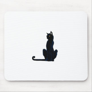 black halloween cat mouse pad