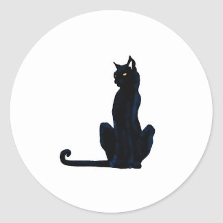 black halloween cat round sticker