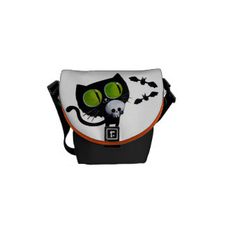 Black Halloween Cat with Skull Courier Bag