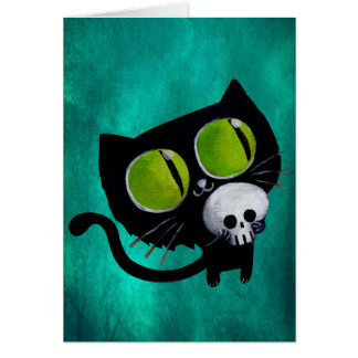 Black Halloween Cat with Skull Greeting Card