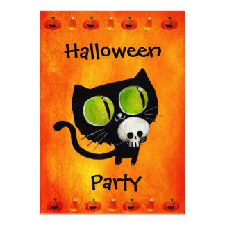 "Black Halloween Cat with Skull Party Invitation 5"" X 7"" Invitation Card"