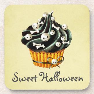 Black Halloween Cupcake Beverage Coaster