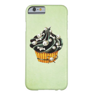 Black Halloween Cupcake with tiny skulls Barely There iPhone 6 Case