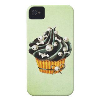 Black Halloween Cupcake with tiny skulls iPhone 4 Cover