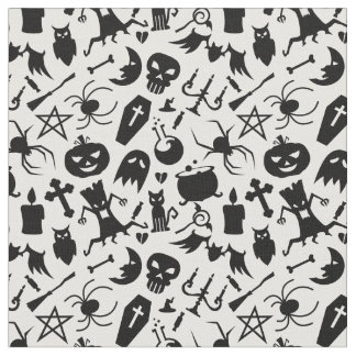 Black Halloween elements pattern Fabric