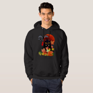 Black Halloween Kitty And Bats Hoodie