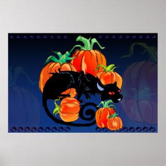 Black Halloween Kitty Print