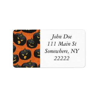 Black Halloween Pumpkins on Orange Address Label