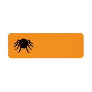 Black Halloween spider on orange blank Halloween Return Address Label