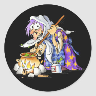 Black Halloween Stickers With Purple Witch