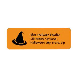 Black Halloween witch hat orange family return Return Address Label