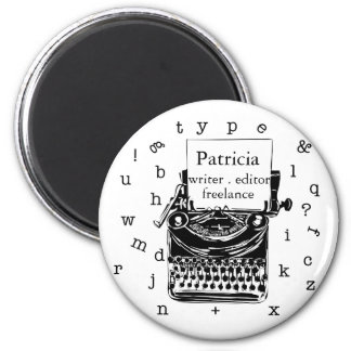 Black Hand Drawn Retro Typewriter | Editable  TEXT Magnet