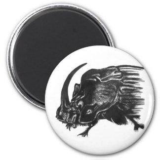 Black hand drawn rhino beetle 6 cm round magnet