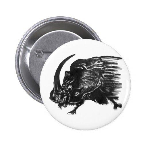 Black hand drawn rhino beetle pin