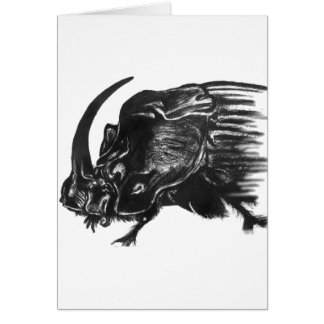 Black hand drawn rhino beetle greeting card