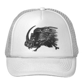 Black hand drawn rhino beetle hats