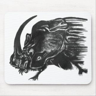 Black hand drawn rhino beetle mouse pad
